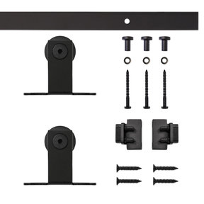 Black Top Mount Rolling Single Furniture Door Kit with 4-ft. Rail