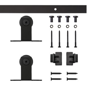 Black Top Mount Rolling Single Furniture Door Kit with 5-ft. Rail
