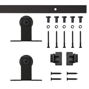 Black Top Mount Rolling Single Furniture Door Kit with 6-ft. Rail