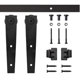 Black Wedge Rolling Single Furniture Door Kit with 4-ft. Rail