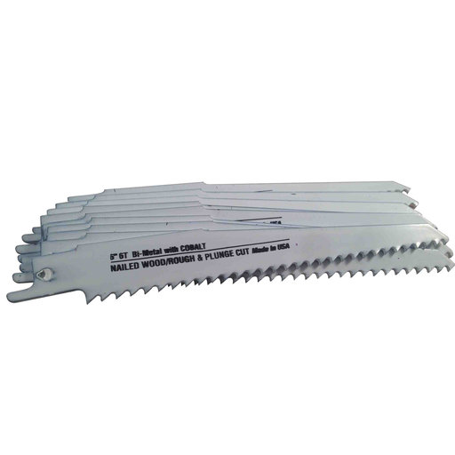 "View a Larger Image of Blu-Mol Bi-Metal Reciprocating Saw Blade, 6"" L, 6 TPI, 10-Pack"