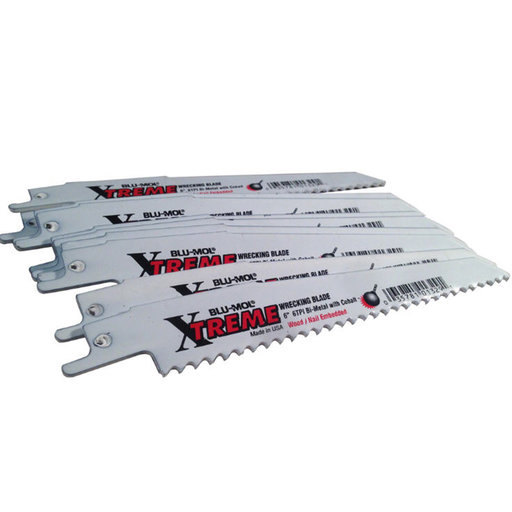 "View a Larger Image of Blu-Mol Xtreme Demolition Wood-Cutting Reciprocating Saw Blade, 6"" L, 6 TPI, 10-Pack"