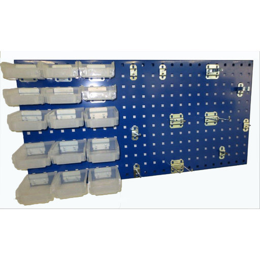 View a Larger Image of Blue Epoxy, 18 Gauge Steel Square Hole Pegboard 43 pc. Kit