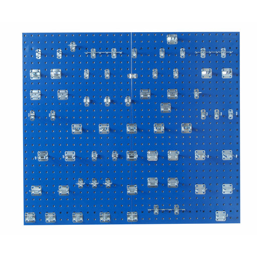 View a Larger Image of  Blue Epoxy 18 Gauge Steel Square Hole Pegboards w/63 pc. LocHook Assortment