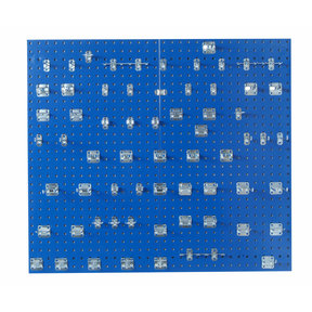 Blue Epoxy 18 Gauge Steel Square Hole Pegboards w/63 pc. LocHook Assortment