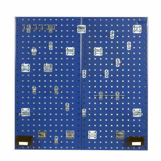 View a Larger Image of Blue Steel Square Hole Pegboards with 30 pc. LocHook Assortment & Hanging Bin System