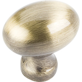 "Bordeaux Knob, 1-3/16"" O.L., Brushed Antique Brass"