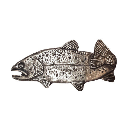 """View a Larger Image of 2"""" Long Trout Pull Left Facing, Pewter, Model 096P"""