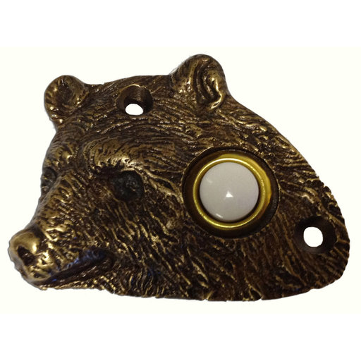 View a Larger Image of Bear Head Door Bell, Antique Brass, Model 925AB