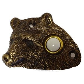 Bear Head Door Bell, Antique Copper, Model 925AC