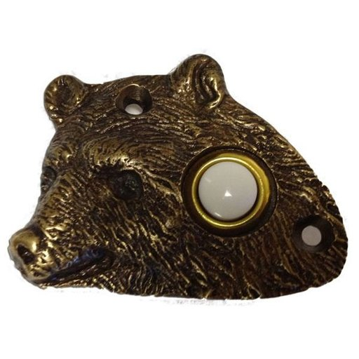 View a Larger Image of Bear Head Door Bell, Nickel, Model 925N