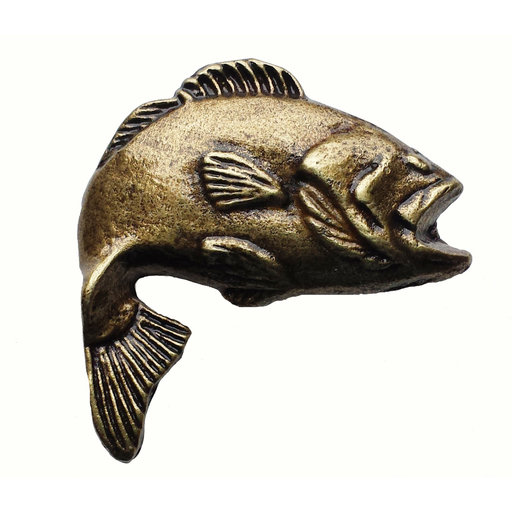 View a Larger Image of Big Bass Pull, Antique Brass, Model 151AB