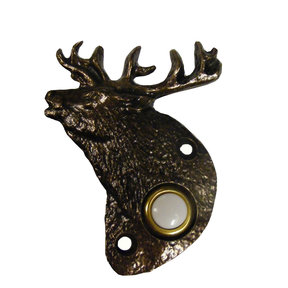 Elk Doorbell, Antique Brass, Model 929AB
