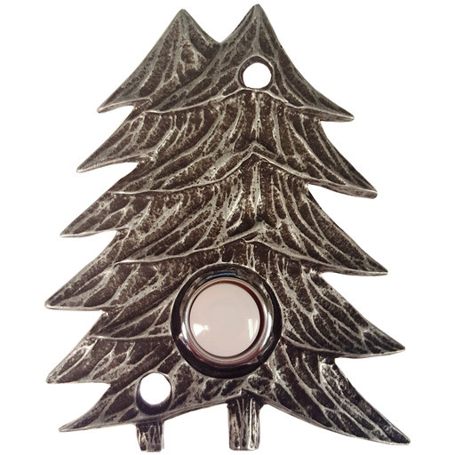 View a Larger Image of Large Twin Pines Door Bell, Pewter, Model 920P