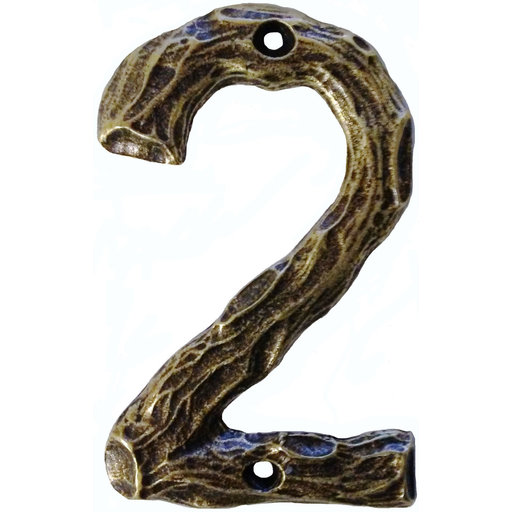 View a Larger Image of LHN2-AB Log House Number 2, Antique Brass, 1 piece