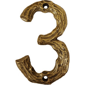 LHN3-AB Log House Number 3, Antique Brass, 1 piece