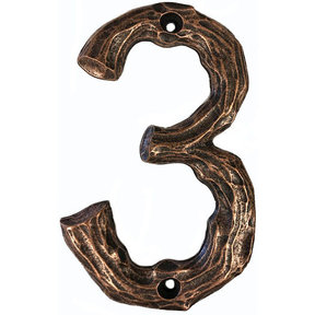 LHN3-AC Log House Number 3, Antique Copper, 1 piece