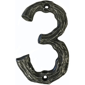 LHN3-P Log House Number 3, Pewter, 1 piece