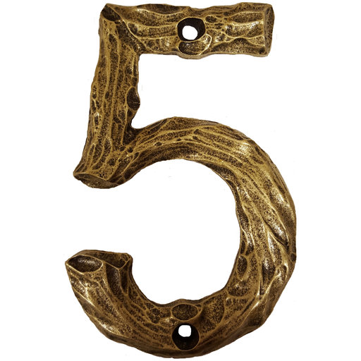View a Larger Image of LHN5-AB Log House Number 5, Antique Brass, 1 piece