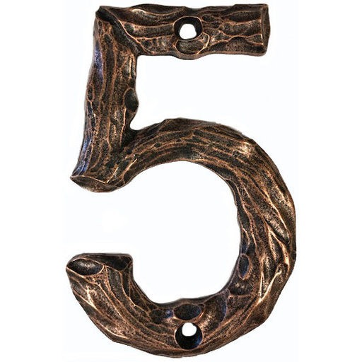 View a Larger Image of LHN5-AC Log House Number 5, Antique Copper, 1 piece
