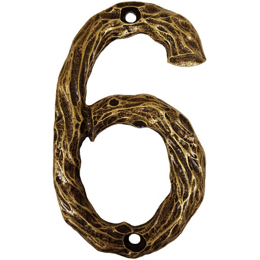 View a Larger Image of LHN6-AB Log House Number 6, Antique Brass, 1 piece