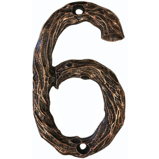 View a Larger Image of LHN6-AC Log House Number 6, Antique Copper, 1 piece