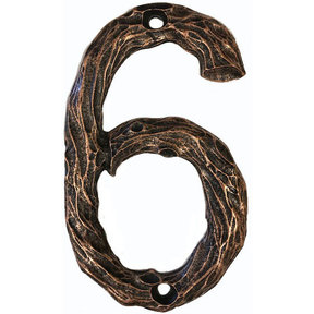 LHN6-AC Log House Number 6, Antique Copper, 1 piece