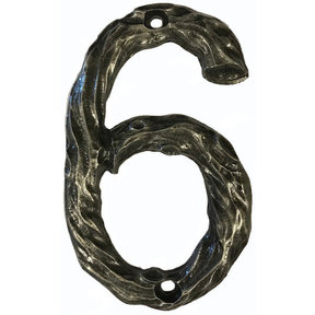 LHN6-P Log House Number 6, Pewter, 1 piece