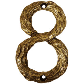 LHN8-AB Log House Number 8, Antique Brass, 1 piece