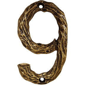 LHN9-AB Log House Number 9, Antique Brass, 1 piece