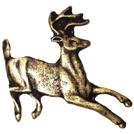 View a Larger Image of Running Whitetail Deer Pull, Antique Brass, Model 128AB