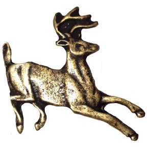 Running Whitetail Deer Pull, Antique Brass, Model 128AB