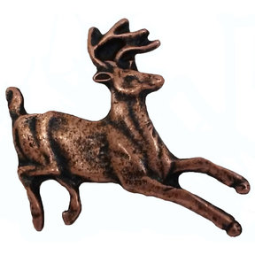 Running Whitetail Deer Pull, Antique Copper, Model 128AC
