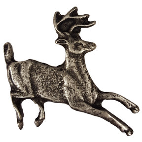 Running Whitetail Deer Pull, Pewter, Model 128P