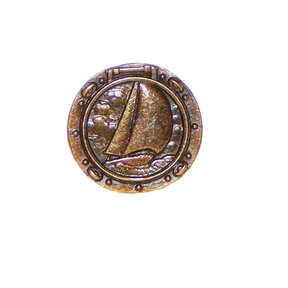 Sailboat in Porthole Pull, Antique Brass, Model 100AB