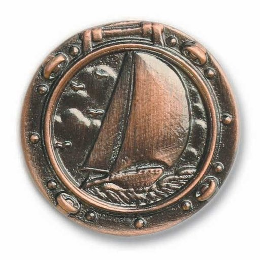 View a Larger Image of Sailboat in Porthole Pull, Antique Copper, Model 100AC