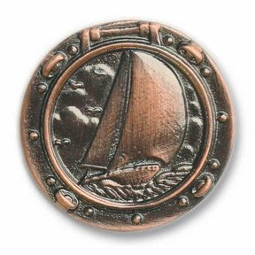 Sailboat in Porthole Pull, Antique Copper, Model 100AC