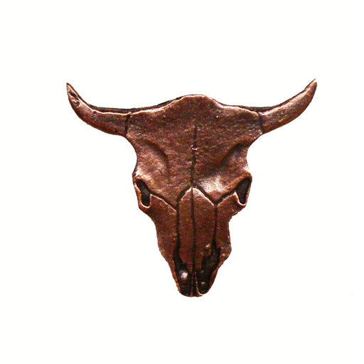 View a Larger Image of Steer Skull Pull, Antique Copper, Model 045AC