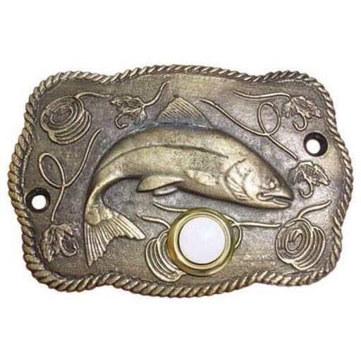 View a Larger Image of Trout Scene Door Bell, Antique Brass, Model 914AB