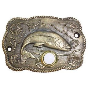 Trout Scene Door Bell, Antique Brass, Model 914AB