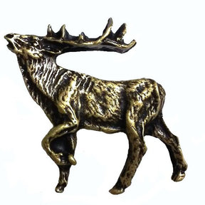 Walking Elk Pull Left Antique Brass Model 051AB