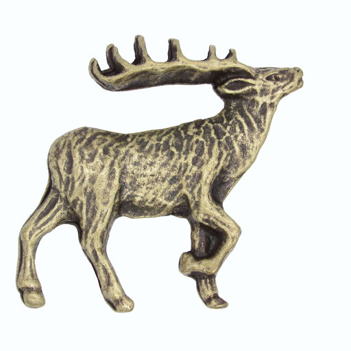 View a Larger Image of Walking Elk Pull Right Antique Brass Model 271AB