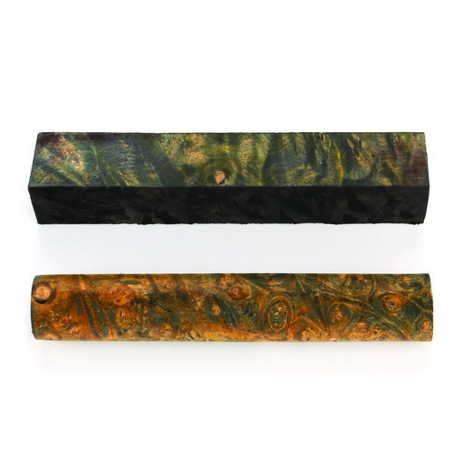 View a Larger Image of Buckeye Burl Stabilized Double Dyed Pen Blank Gold/Black 1-piece