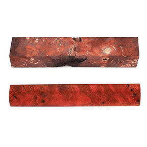 Buckeye Burl Stabilized Double Dyed Pen Blank Red/Black 1-piece
