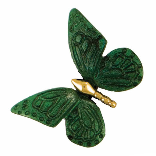 View a Larger Image of Butterfly Doorbell Ringer - Brass/Green Patina