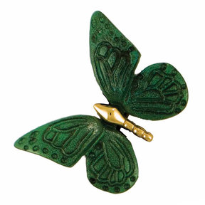 Butterfly Doorbell Ringer - Brass/Green Patina