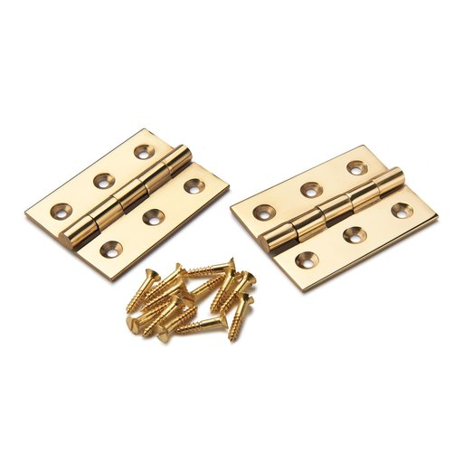 "View a Larger Image of Cabinet Hinge Polished Brass 2"" x 1-1/2"" Pair"