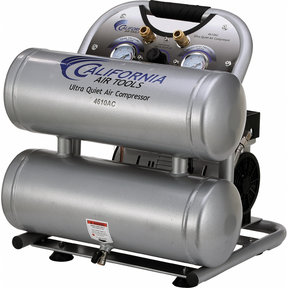 4610AC Ultra Quiet & Oil-Free 1.0 HP, 4.6 Gal. Aluminum Twin Tank Portable Air Compressor