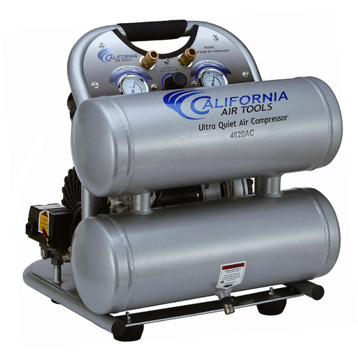 View a Larger Image of 2HP 220V 4 Gallon Oil-Free Twin Aluminum Tank Air Compressor