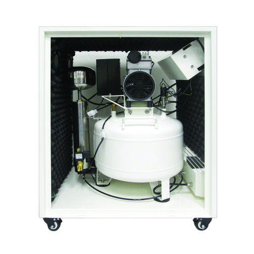 View a Larger Image of 1HP 8 Gallon Oil-Free Steel Tank Air Compressor with Air Drying System in Soundproof Cabinet